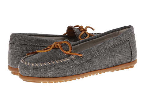 Minnetonka - Canvas Moc (Black Canvas) Women's Moccasin Shoes