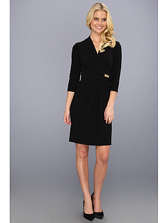 SALE! $54.99 - Save $63 on Ellen Tracy Jersey Surplice Dress w Side Drape and Hardware (Black) Apparel - 53.40% OFF $118.00