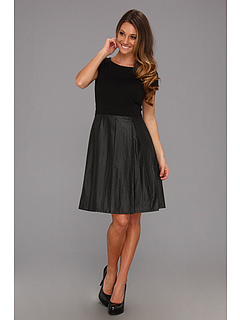 SALE! $39.99 - Save $88 on Ellen Tracy S S Ponte Top Dress w Punched PU Skirt (Black) Apparel - 68.76% OFF $128.00