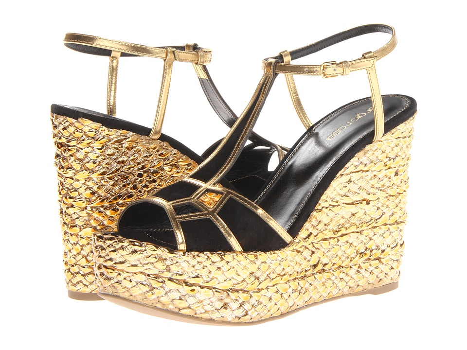 Sergio Rossi - Sophie (Var.Nero (gold/black)) Women's 1-2 inch heel Shoes