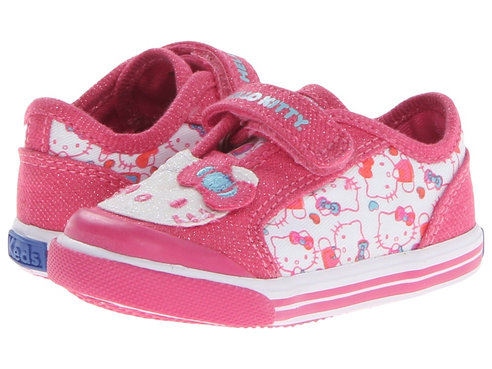 Keds Kids - Glittery-Kitty Crib (Infant/Toddler) (Pink/White Multi Print Twill) Girls Shoes