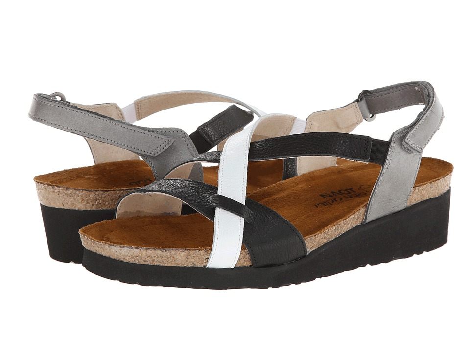Naot Footwear - Bernice (Night Leather/White Leather/Rainy Grey Leather) Women's Sandals