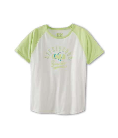 Life is good Kids - Heart Baseball Sleep Tee (Little Kids/Big Kids) (Lime Green) Girl's Short Sleeve Pullover