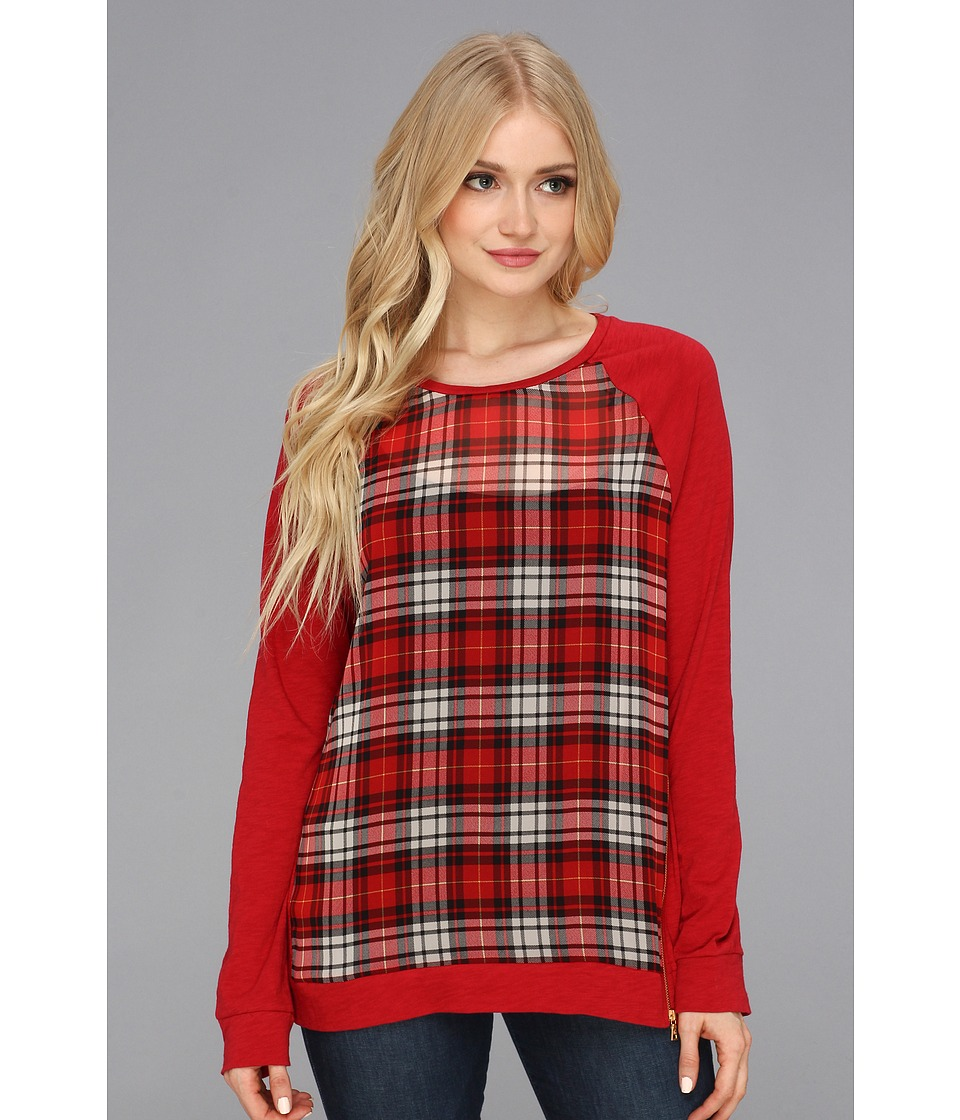 TWO by Vince Camuto - Plaid Pannel Side Zip Top (China Red) Women's Sweatshirt