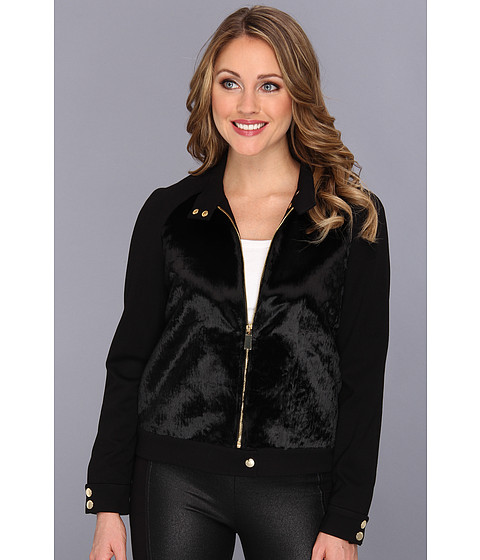 Vince Camuto - Ponyhair Ponte Jacket (Rich Black) Women's Coat