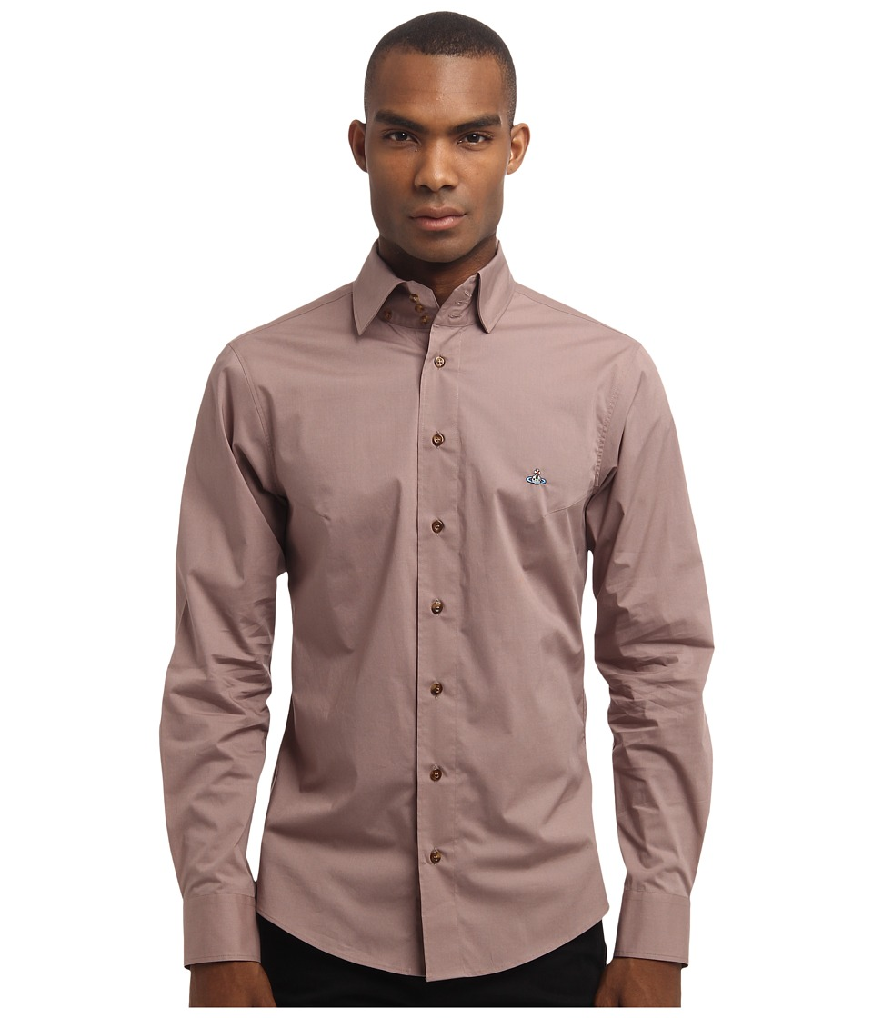 Vivienne Westwood MAN - Classic Stretch Poplin Long Sleeve Button Up (Brown) Men's Long Sleeve Button Up