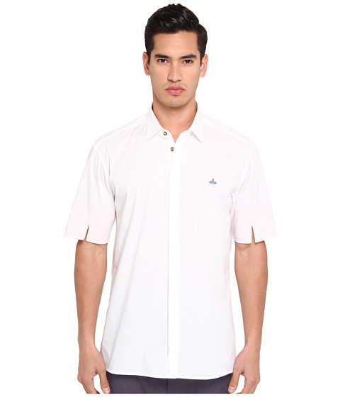 Vivienne Westwood MAN - Classic Stretch Poplin Short Sleeve Button Up (White/Peach) Men's Short Sleeve Button Up