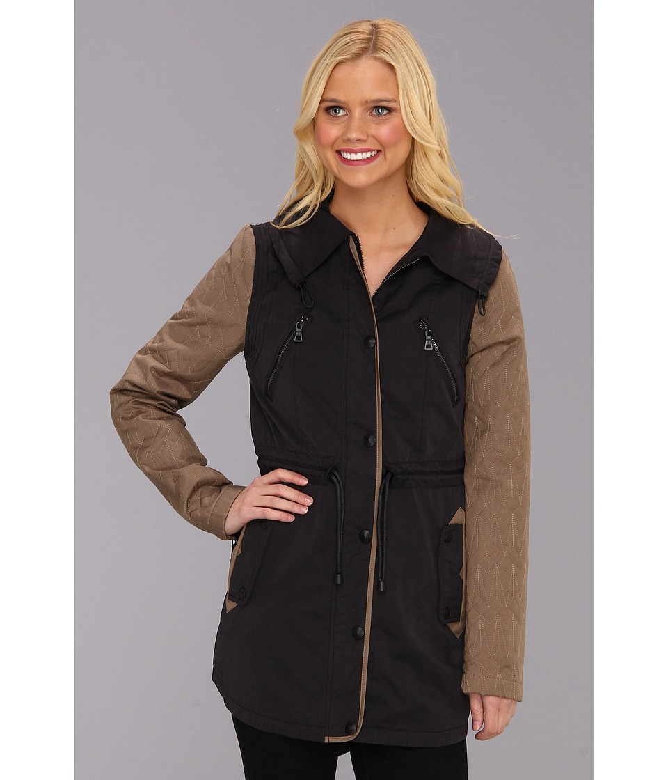 Sam Edelman - Quilted Sleeve Cotton Anorak (Black/Taupe) Women's Coat