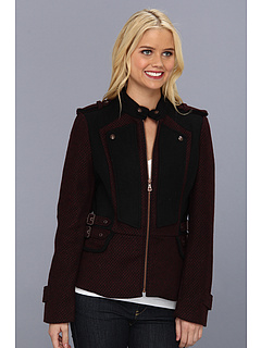 SALE! $69.99 - Save $100 on Sam Edelman Contrast Wool Military Peplum Jacket (Wine) Apparel - 58.83% OFF $170.00