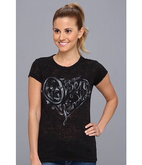 Life is good - Top Notch Burnout Tee (Night Black) Women