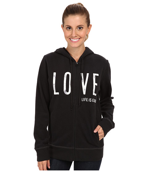 Life is good - Go-To Hoodie (Night Black) Women's Sweatshirt