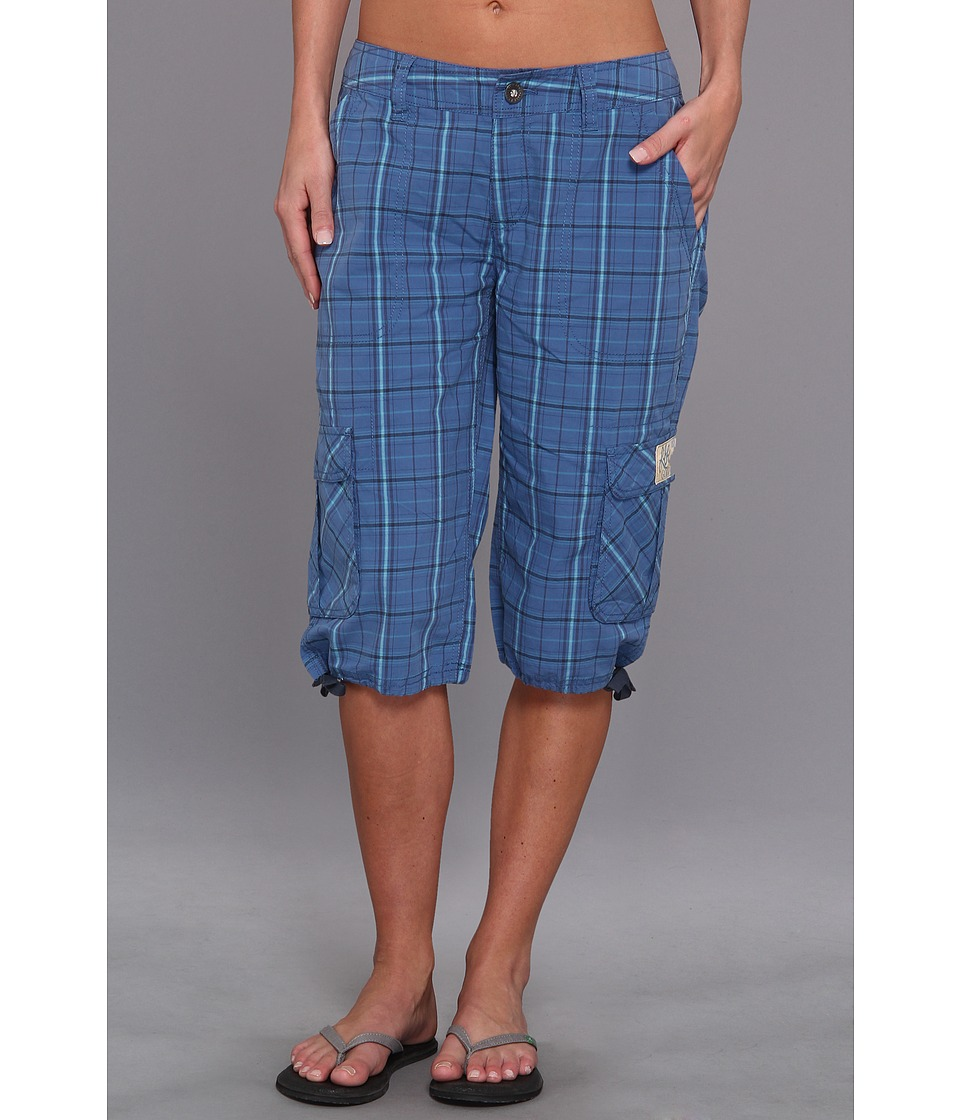 Life is Good - Journey Cargo Short (Blue Plaid) Women's Shorts
