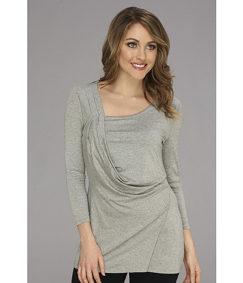 Vince Camuto - 3/4 Sleeve Side Drape Top (Light Heather Grey) Women