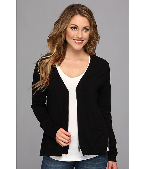 TWO by Vince Camuto - Slit Back Zip Cardigan (Rich Black) Women