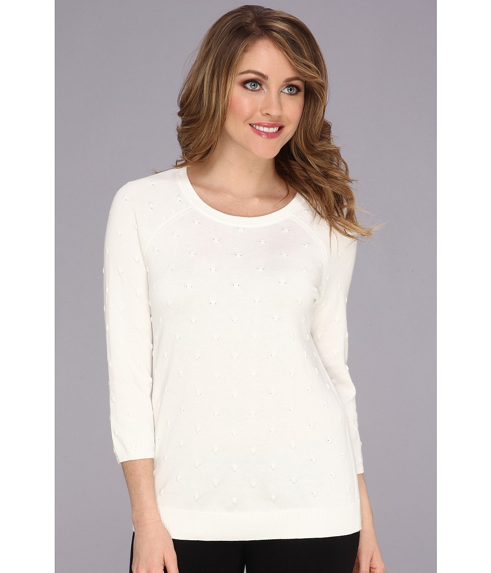 Vince Camuto - 3/4 Sleeve Bubble Top Stitch Sweater (Light Cream) Women