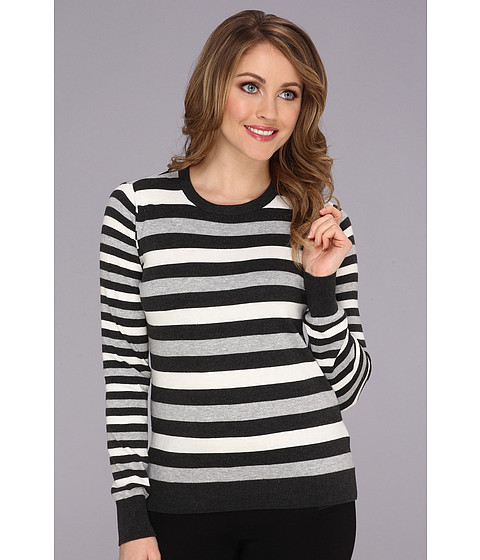Vince Camuto - Contrast Stripe L/S Sweater (Dark Heather Grey) Women