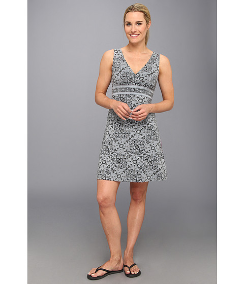 Life is good - Crossover Sun Dress (Gray Tile Floral) Women's Dress