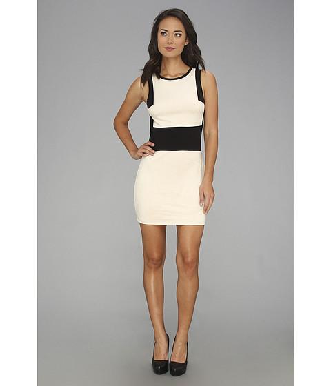 Sanctuary - Suede Colorblock Dress (Black w/ Pearl) Women