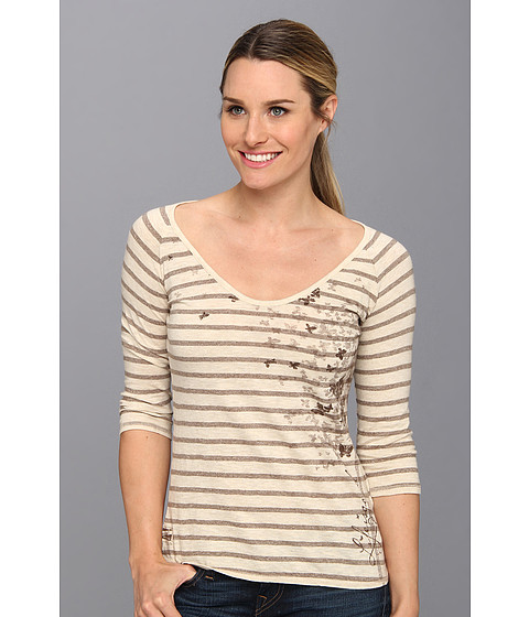 Life is good - Top Notch Vista Vee Tee (Java Brown Stripe) Women's Long Sleeve Pullover