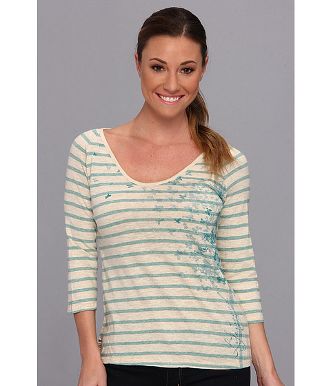 Life is good - Top Notch Vista Vee Tee (Aqua Blue Stripe) Women's Long Sleeve Pullover