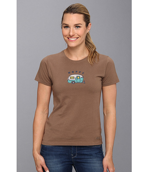 Life is good - Happy Camper Crusher Tee (Java Brown) Women's T Shirt