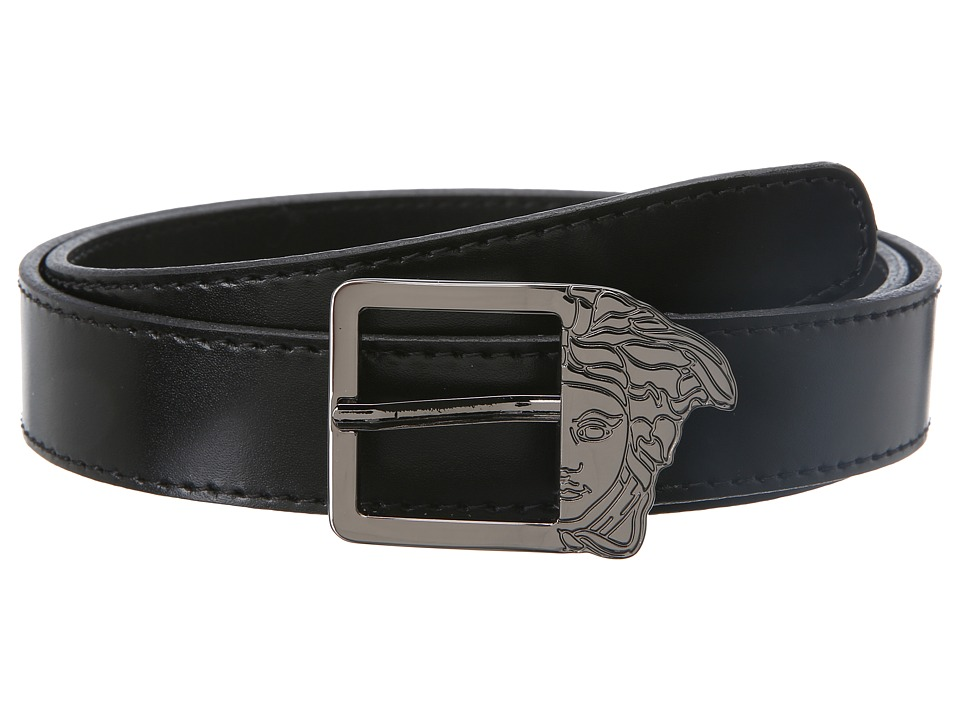 Versace Collection - Calf Belt w/ Smoke Medusa Buckle (Black) Men's Belts