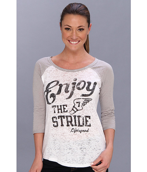 Life is good - Baseball Burnout Tee (Cloud White/Simply Light Gray) Women