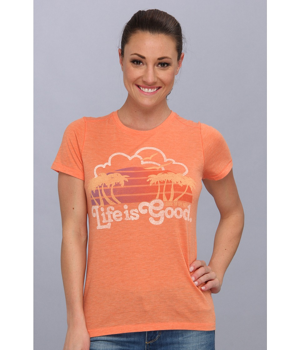 Life is good - Cool Tee (Vibrant Orange) Women's Short Sleeve Pullover