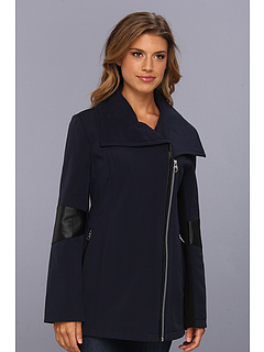 SALE! $69.99 - Save $110 on Calvin Klein Asymmetrical Wing Collar Pant Coat w PU Arm Detail (Navy) Apparel - 61.12% OFF $180.00
