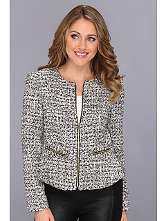 SALE! $74.99 - Save $74 on Calvin Klein Tweed Zip Jacket (Black Silver Cream) Apparel - 49.67% OFF $149.00