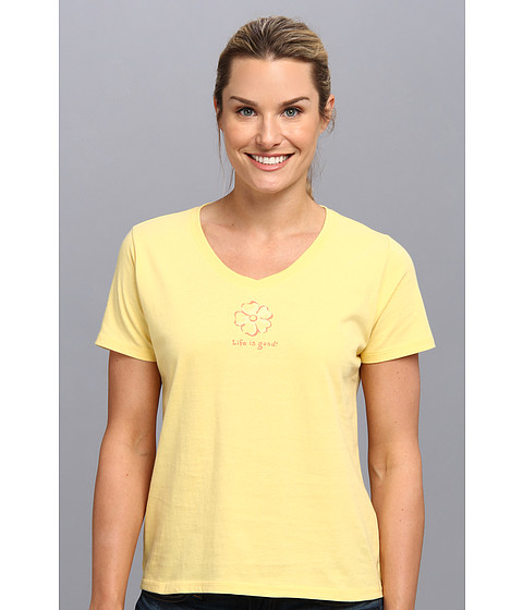 Life is good - Sleep Vee Tee (Canary Yellow) Women's Pajama