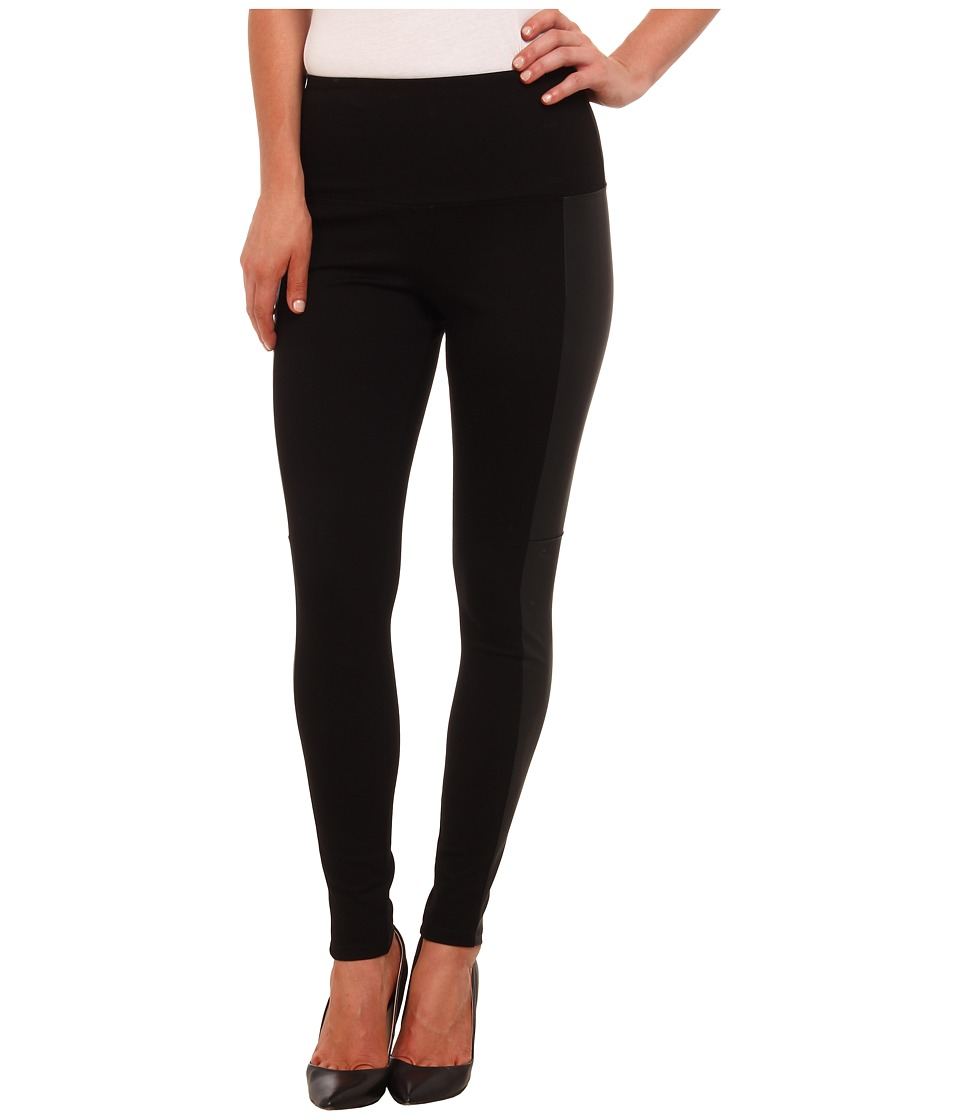 Lysse - Vegan Leather Side Panel Ponte Legging 1504 (Black) Women's Clothing