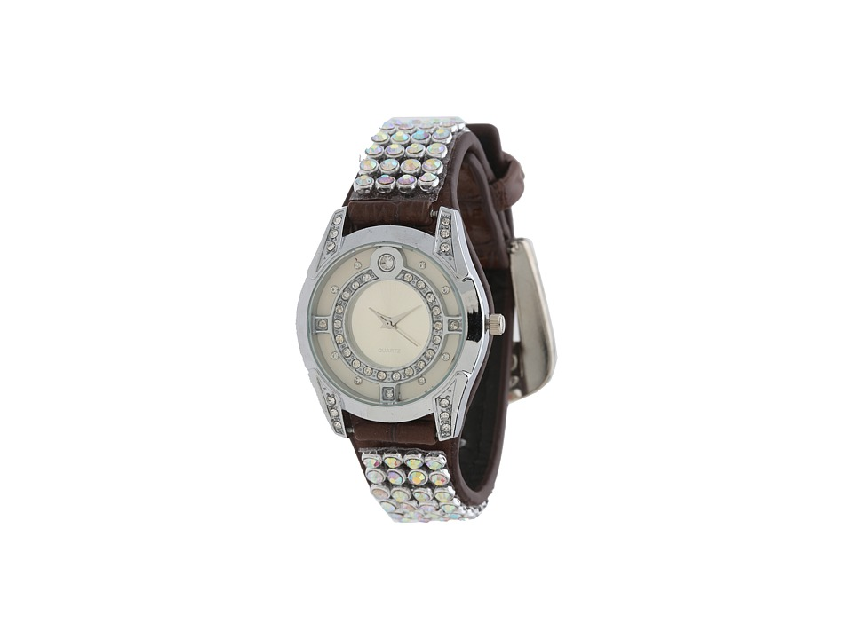 M&F Western - Rhinestone Mesh Watch (Brown/AB Crystal) Watches