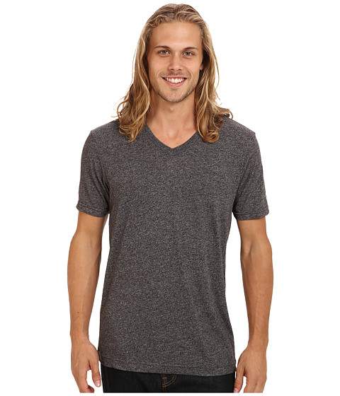 Volcom - Mock Twist S/S V-Neck Tee (Charcoal Heather) Men's T Shirt