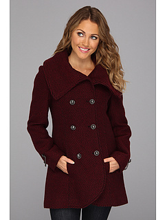 SALE! $86.99 - Save $68 on Jessica Simpson Double Breasted Wool Coat w Hardware (Burgundy) Apparel - 43.88% OFF $155.00