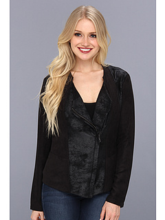 SALE! $41.99 - Save $98 on DKNY Jeans Faux Suede And Foil French Terry Jacket (Noir) Apparel - 69.90% OFF $139.50