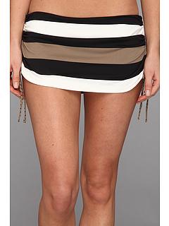 SALE! $46.99 - Save $39 on Tommy Bahama Rugby Stripe Dot Side Shirred Skirted Hipster Bottom (Black Tortuga White) Apparel - 45.36% OFF $86.00