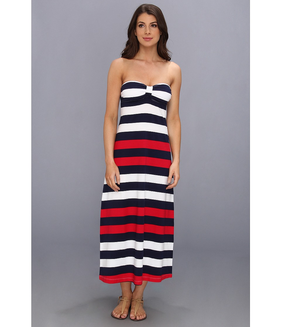 Tommy Bahama - Mare Rugby Striped Tea Length Bandeau Dress (Crimson Red/Mare) Women