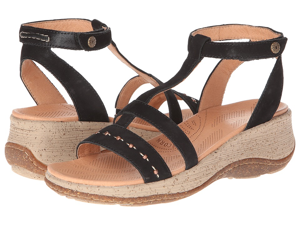 Acorn - Vista Wedge T-Strap (Black) Women's Sandals