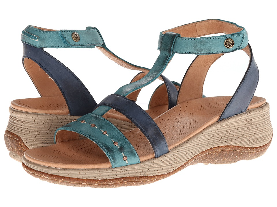 Acorn - Vista Wedge T-Strap (Navy/Sea) Women's Sandals