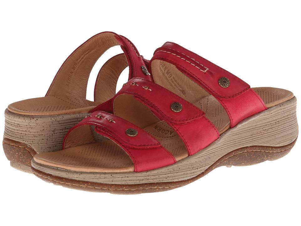 Acorn - Vista Wedge 3-Strap (Crimson) Women