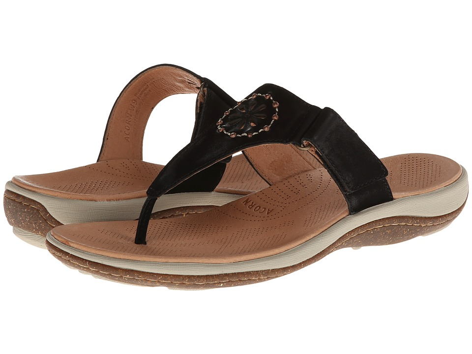 Acorn - Vista Beaded Thong (Black) Women's Shoes