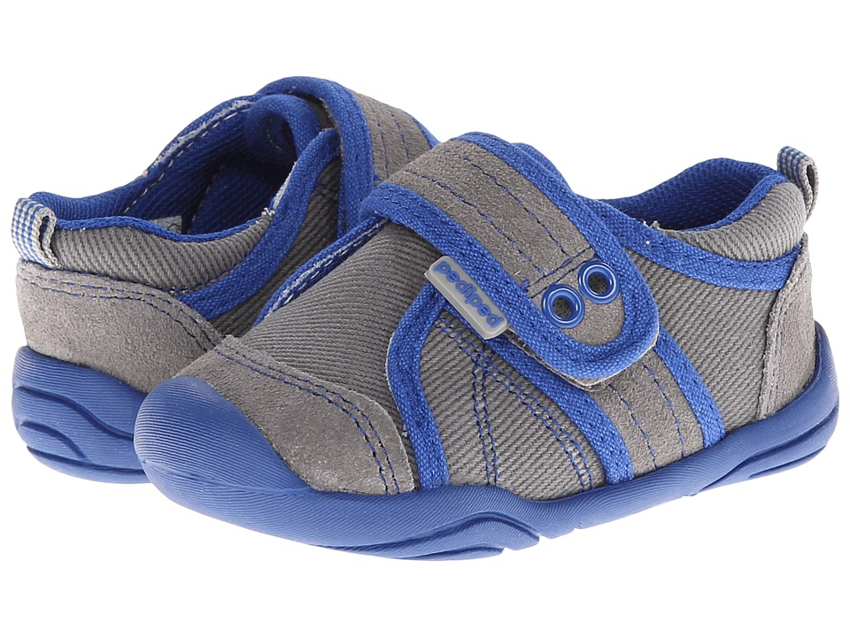 pediped - John Grip 'n' Go (Toddler) (Grey/Blue) Boys Shoes
