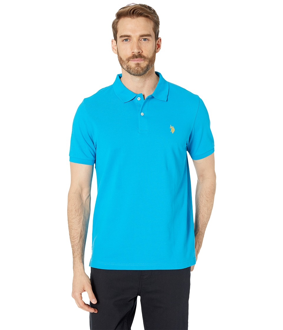 U.S. POLO ASSN. - Solid Cotton Pique Polo with Small Pony (Teal Blue 1) Men's Short Sleeve Knit