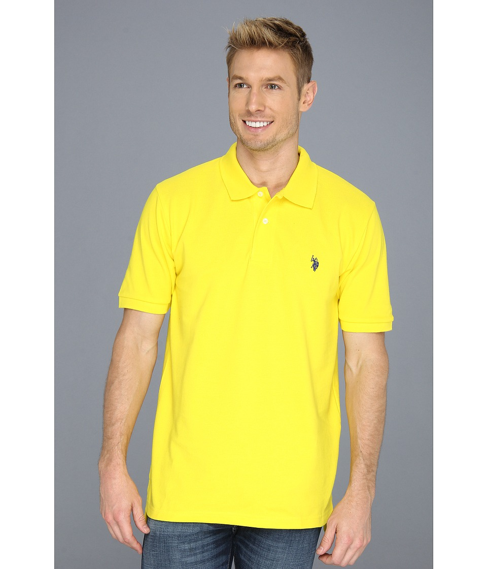 U.S. POLO ASSN. - Solid Polo with Small Pony (Cyber Yellow) Men's Short Sleeve Knit