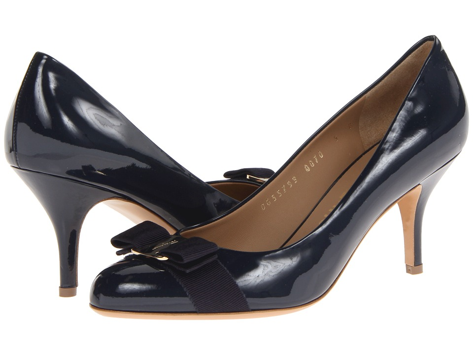 Salvatore Ferragamo - Suede Mid-Heel Pump (Oxford Blue) High Heels