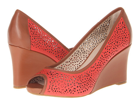 Rockport Seven to 7 Laser Peep Toe Wedge (Poppy Red) Women's Wedge Shoes