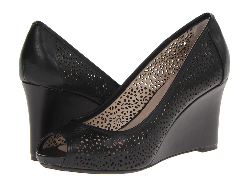 Rockport - Seven to 7 Laser Peep Toe Wedge (Black) Women