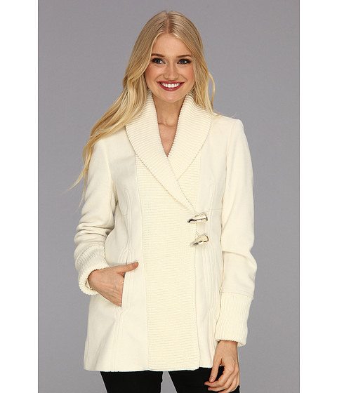Vince Camuto - Asymmetrical Toggle Knit Coat (Cream) Women's Coat