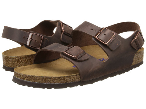 Birkenstock - Milano - Leather Soft Footbed (Unisex) (Habana Oiled Leather) Sandals